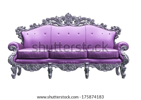 Baroque sofa  with pink worker strikes - stock photo