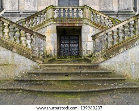 Baroque stairs of a Kuks historical hospital in Czech - stock photo