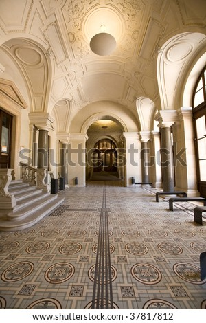 baroque style entrance hall - stock photo