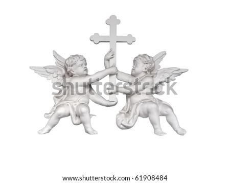 Baroque taste bas-relief of two angels holding the cross (detail of decoration of Saint Catherine church in St.Petersburg, Russia) isolated on white - stock photo