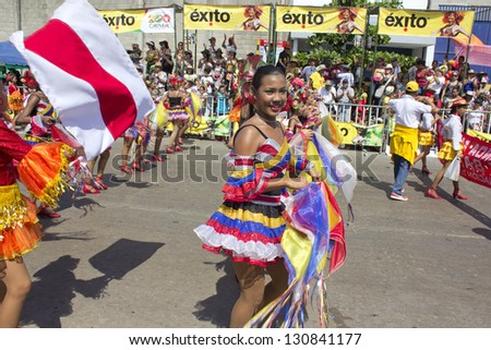 BARRANQUILLA - FEB 10: Carnaval del Bicentenario 200 years of Carnaval. Once a year Colombia hold there carnival street parade. Dancers enjoy the moment. February 10, 2013 Barranquilla Colombia - stock photo