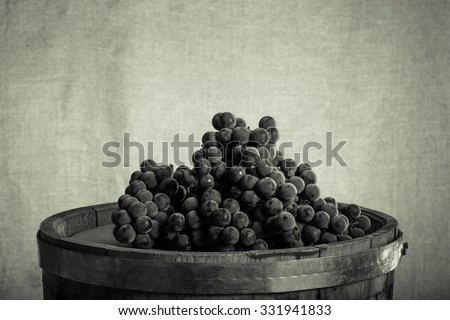 Barrel and ripe grapes of wine on burlap background. Toned. - stock photo