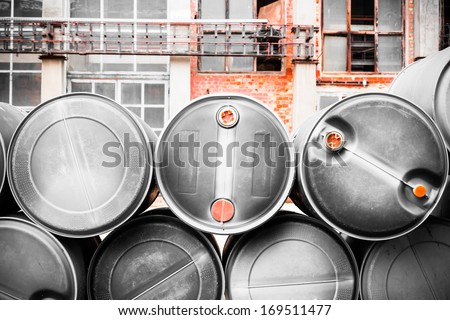 barrel containing much hazardous waste in a firm - stock photo