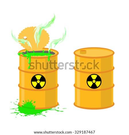 Barrel of acid. illustration open drums with dangerous green liquid.  - stock photo