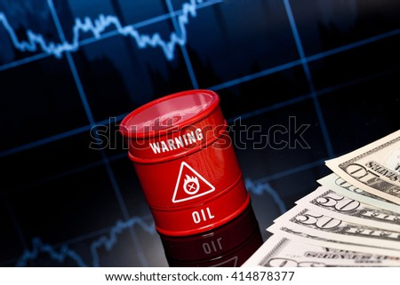 barrel of oil with money - stock photo