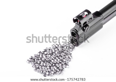 Barrel of the gun close up on a white background - stock photo