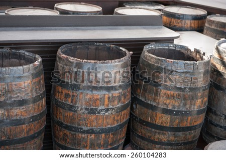 barrel wine beer liquid wooden - stock photo