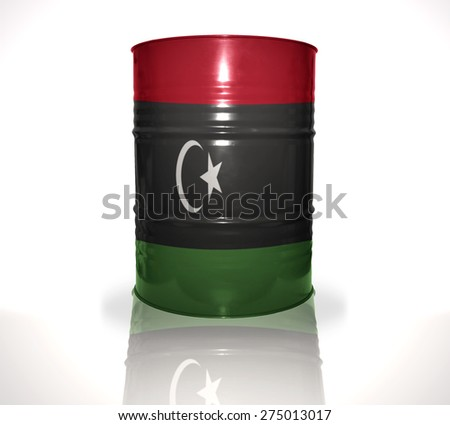 barrel with libyan flag on the white background - stock photo