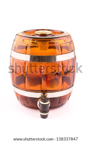 Barrel with whiskey - stock photo