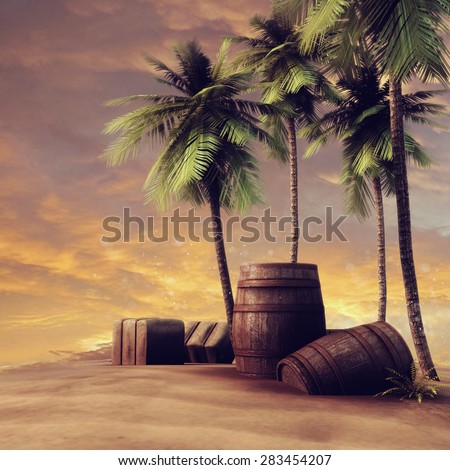 Barrels, crates and palm trees on a beach at sunset - stock photo