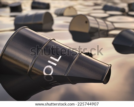 Barrels floating on a sea of oil. Concept of environmental disrepair. - stock photo