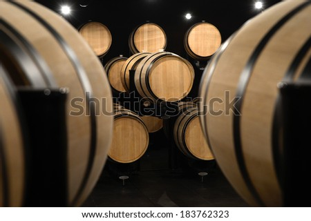 Barrels in a modern winery - stock photo