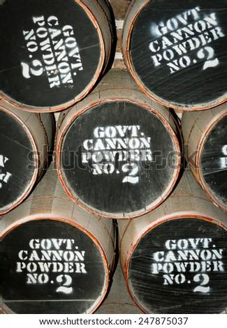 Barrels of civil war gun powder Fort Clinch, Fernandina Beach, Jacksonville Florida - stock photo