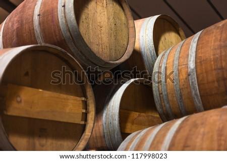 Barrels of South African in the Stellenbosch region - stock photo