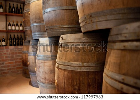 Barrels of South African wine stacked for sale - stock photo