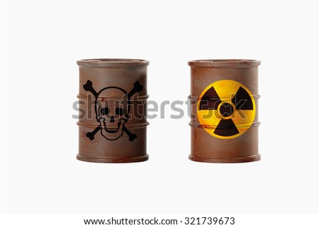 Barrels with signs of skull and crossbones and radioactivity on white background - stock photo