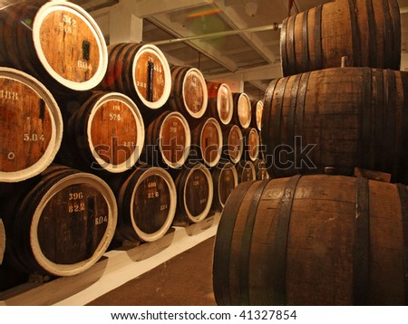 barrels with the wine alcohol - stock photo