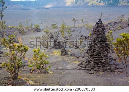 Barren bottom of Kilauea Crater with sulfur gas vents and ??ohia lehua plants in Hawaii Volcanoes National Park, Big Island, Hawaii - stock photo