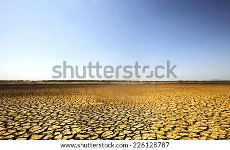 Barren desert land in national park Sarigua in Panama - stock photo