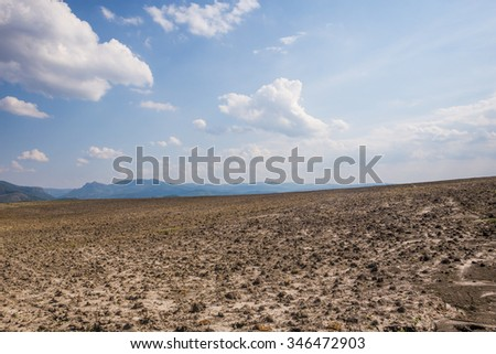 Barren f?eld in the fall with a great sky line - stock photo