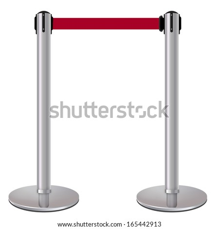 Barrier red rope isolated on white background - stock photo