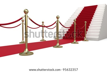 Barrier rope and red carpet (isolated on white and clipping path) - stock photo