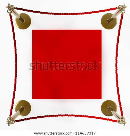 Barrier rope and red carpet isolated on white background High resolution 3D - stock photo