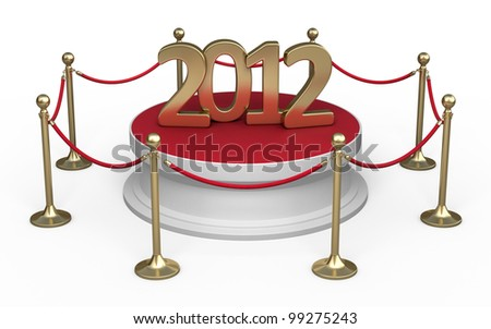 Barrier rope and white base gold 2012  (isolated on white and clipping path) - stock photo