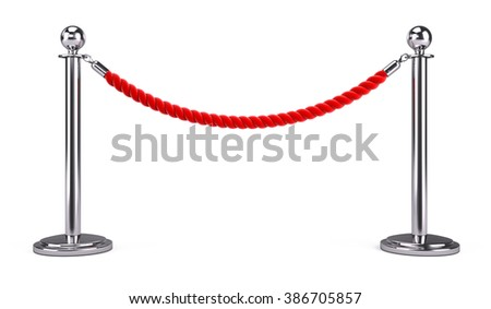 barrier rope isolated on white - stock photo