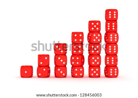 Bars from red dice on the white background - stock photo