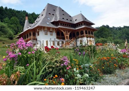 Barsana orthodox wooden monastery complex - stock photo