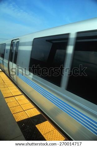 Bart Metro Rail car from platform in San Francisco, California - stock photo
