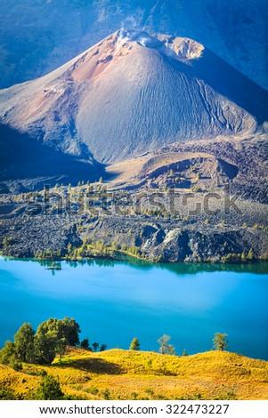 Barujari cone inside Mt. Rinjani caldera - stock photo