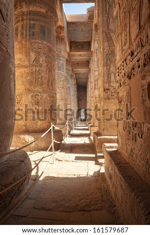 Bas-relief details in Medinet Habu temple, Luxor, Egypt - stock photo
