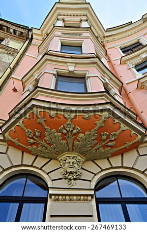 Bas-relief of the art nouveau apartment building in Riga, Latvia - stock photo
