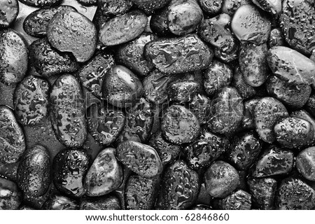basalt stones with water drops - stock photo