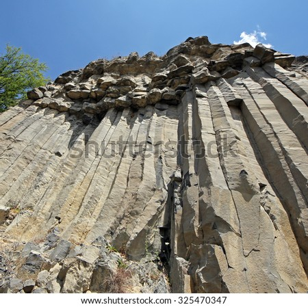 Basalt wall in Racos - stock photo