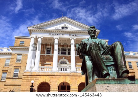 Bascom Hall at Wisconsin University with statue of Abraham Lincoln - stock photo