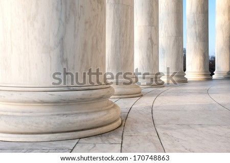 Base of Ionic Columns at Jefferson Memorial in Washington DC - stock photo
