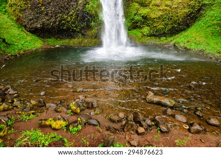 Base of Waterfall at Columbia, Columbia Gorge - stock photo