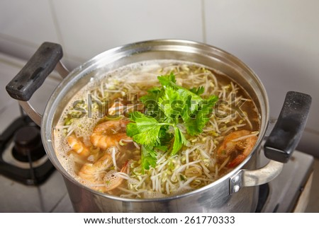 "Base soup for traditional Indonesian food ""lontong mie"" - stock photo"
