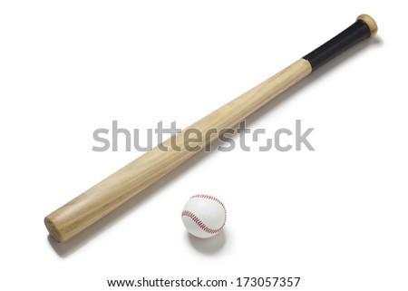 Baseball and baseball bat - stock photo