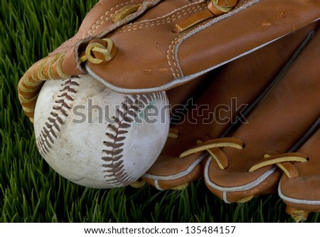 Baseball and Glove. - stock photo