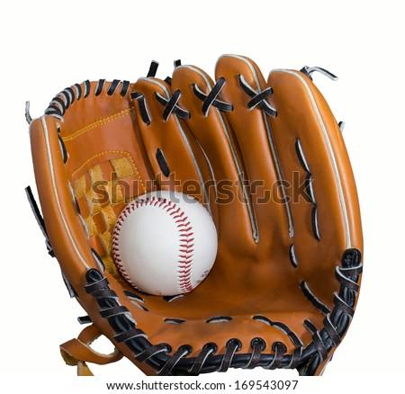 baseball and glove isolatet at white backround - stock photo