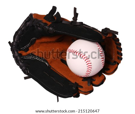 Baseball. Ball in Glove isolated on white.  - stock photo