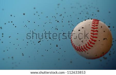baseball ball isolated on blue background - stock photo