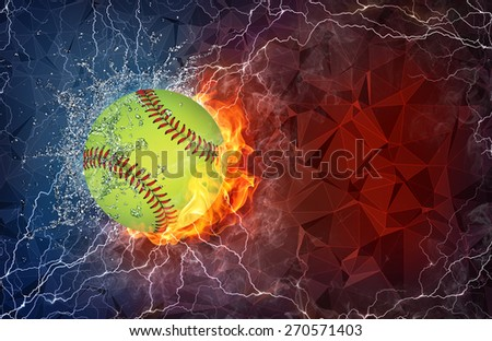 Baseball ball on fire and water with lightening around on abstract polygonal background. Horizontal layout with text space. - stock photo