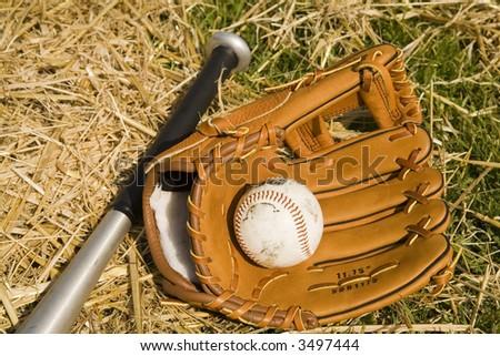 baseball bat glove and ball - stock photo