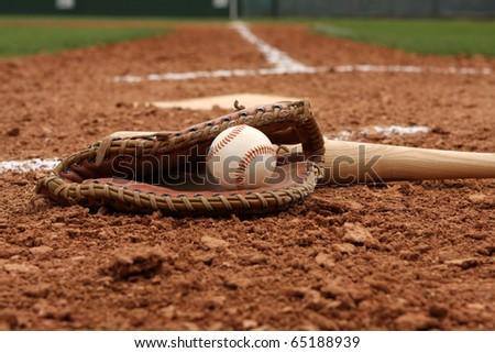 Baseball & Bat near Home Plate - stock photo