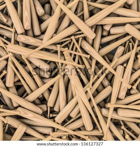 Baseball bats background - stock photo
